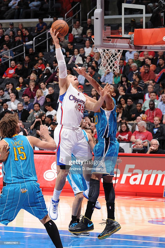 <a gi-track='captionPersonalityLinkClicked' href=/galleries/search?phrase=Blake+Griffin+-+Basketball+Player&family=editorial&specificpeople=4216010 ng-click='$event.stopPropagation()'>Blake Griffin</a> #32 of the Los Angeles Clippers shoots against Anthony Davis #23 of the New Orleans Hornets at Staples Center on December 19, 2012 in Los Angeles, California.