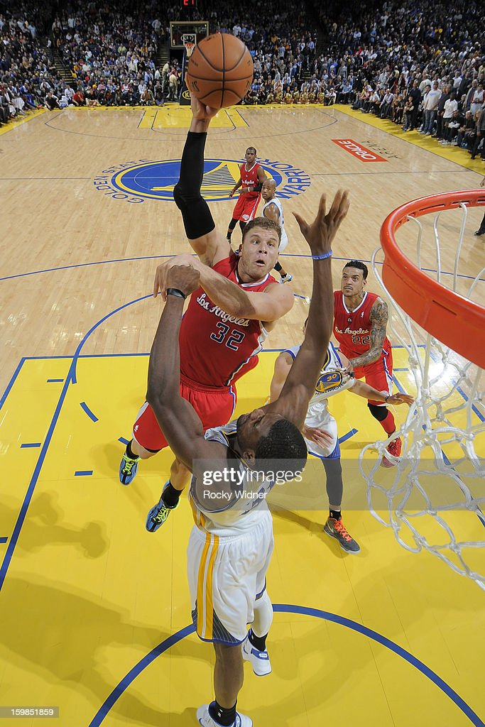 Blake Griffin #32 of the Los Angeles Clippers shoots against Festus Ezeli #31 of the Golden State Warriors on January 21, 2013 at Oracle Arena in Oakland, California.