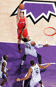 Blake Griffin of the Los Angeles Clippers shoots against Jason Thompson of the Sacramento Kings on January 17 2015 at Sleep Train Arena in Sacramento...
