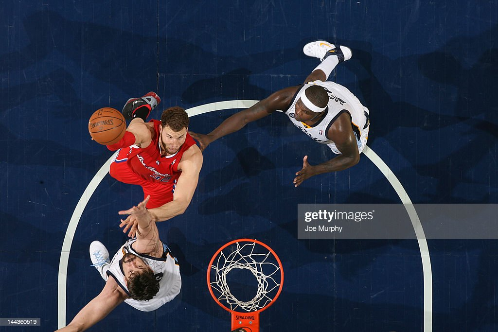 <a gi-track='captionPersonalityLinkClicked' href=/galleries/search?phrase=Blake+Griffin+-+Basketball+Player&family=editorial&specificpeople=4216010 ng-click='$event.stopPropagation()'>Blake Griffin</a> #32 of the Los Angeles Clippers shoots against <a gi-track='captionPersonalityLinkClicked' href=/galleries/search?phrase=Marc+Gasol&family=editorial&specificpeople=661205 ng-click='$event.stopPropagation()'>Marc Gasol</a> #33 and <a gi-track='captionPersonalityLinkClicked' href=/galleries/search?phrase=Zach+Randolph&family=editorial&specificpeople=201595 ng-click='$event.stopPropagation()'>Zach Randolph</a> #50 of the Memphis Grizzlies in Game Seven of the Western Conference Quarterfinals during the 2012 NBA Playoffs on May 13, 2012 at FedExForum in Memphis, Tennessee.