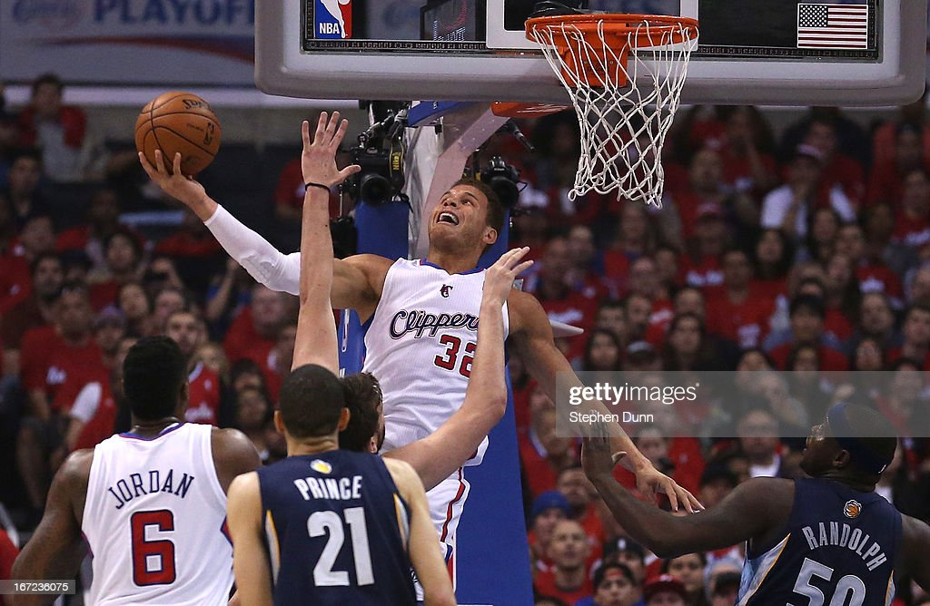 <a gi-track='captionPersonalityLinkClicked' href=/galleries/search?phrase=Blake+Griffin&family=editorial&specificpeople=4216010 ng-click='$event.stopPropagation()'>Blake Griffin</a> #32 of the Los Angeles Clippers shoots against the Memphis Grizzlies during Game Two of the Western Conference Quarterfinals of the 2013 NBA Playoffs at Staples Center on April 22, 2013 in Los Angeles, California.