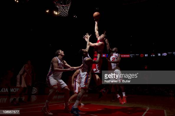Blake Griffin of the Los Angeles Clippers shoots against Wilson Chandler and Raymond Felon of the New York Knicks during a game on February 9 2011 at...
