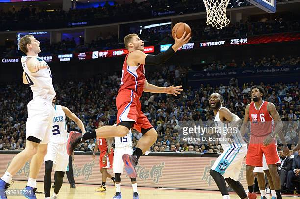 Blake Griffin of the Los Angeles Clippers shoots during a game against the Charlotte Hornets as part of the 2015 NBA Global Games China at...