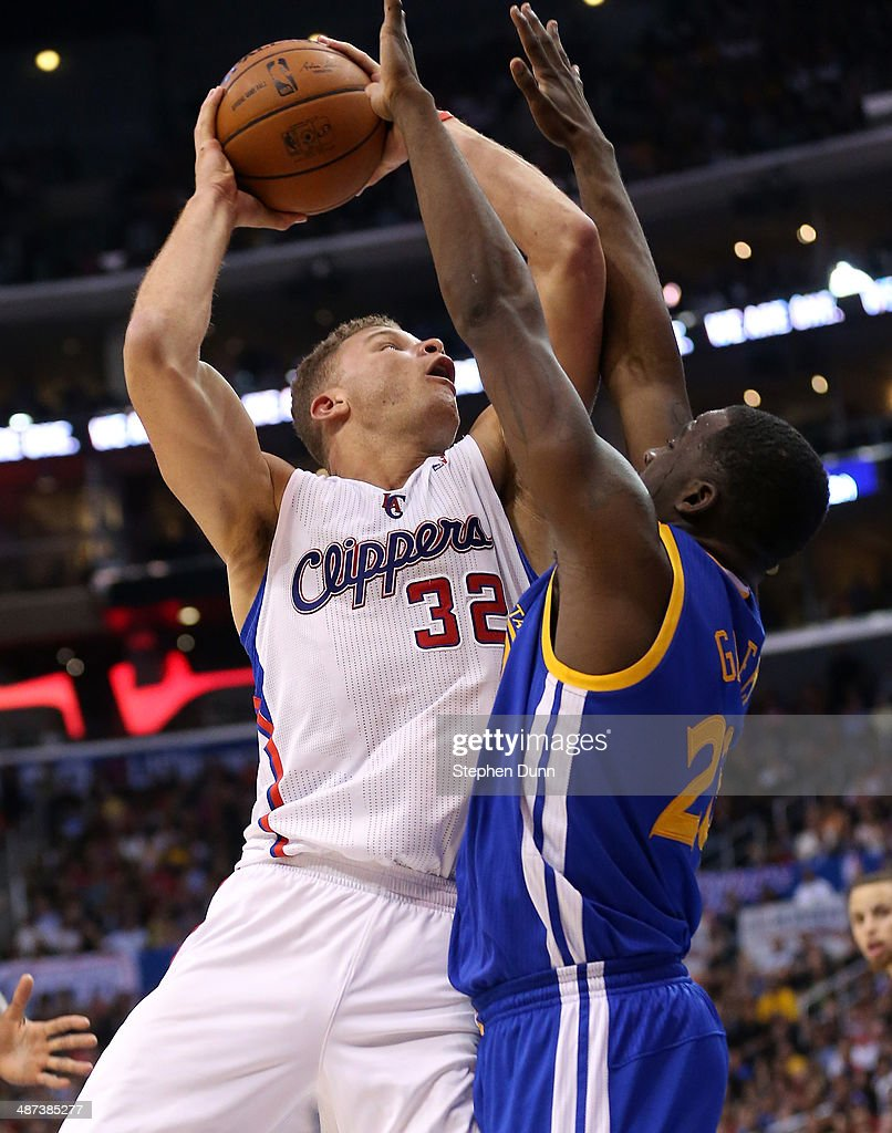 Blake Griffin #32 of the Los Angeles Clippers shoots over Draymond Green #23 of the Golden State Warriors in Game Five of the Western Conference Quarterfinals during the 2014 NBA Playoffs at Staples Center on April 29, 2014 in Los Angeles, California. The Clippers won 113-103.
