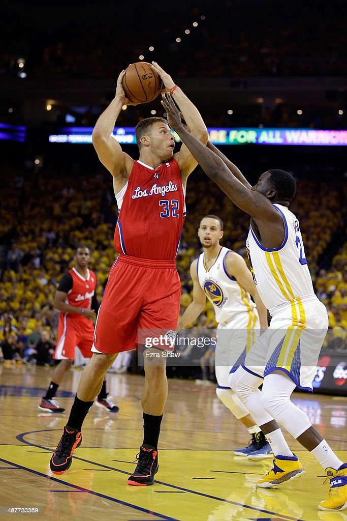 Blake Griffin #32 of the Los Angeles Clippers shoots over Draymond Green #23 of the Golden State Warriors in Game Six of the Western Conference Quarterfinals during the 2014 NBA Playoffs at ORACLE Arena on May 1, 2014 in Oakland, California.