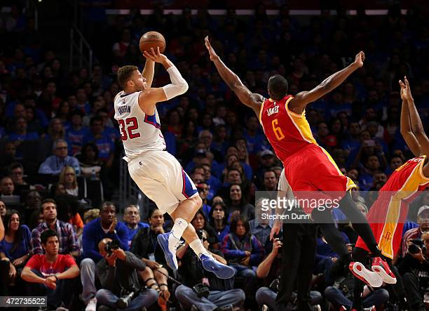 Blake Griffin of the Los Angeles Clippers shoots over Terrence Jones of the Houston Rockets during Game Three of the Western Conference semifinals of...