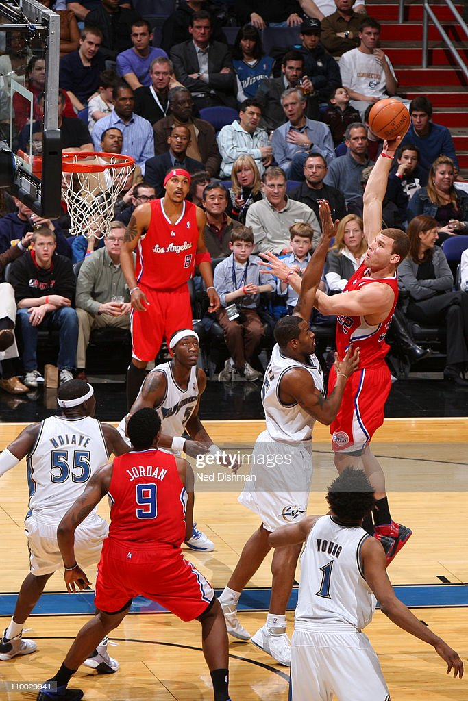 <a gi-track='captionPersonalityLinkClicked' href=/galleries/search?phrase=Blake+Griffin+-+Basketball+Player&family=editorial&specificpeople=4216010 ng-click='$event.stopPropagation()'>Blake Griffin</a> #32 of the Los Angeles Clippers shoots over Trevor Booker #35 of the Washington Wizards at the Verizon Center on March 12, 2011 in Washington, DC.