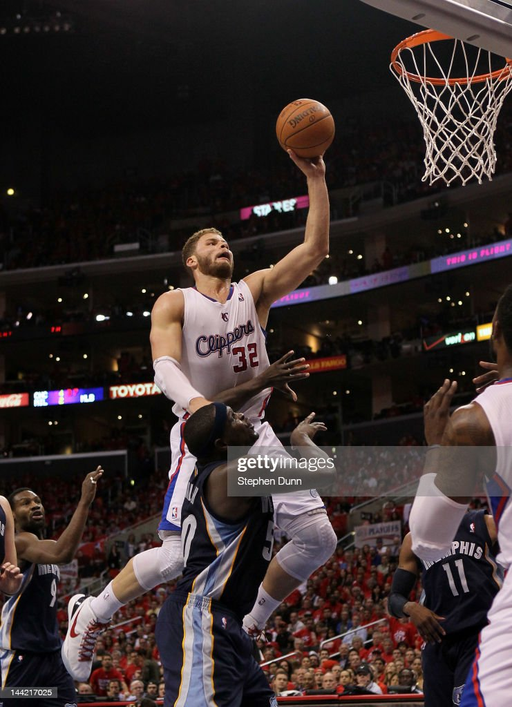 Blake Griffin of the Los Angeles Clippers shoots over Zach Randolph of the Memphis Grizzlies in Game Four of the Western Conference Quarterfinals in...