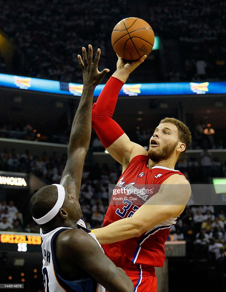 Blake Griffin #32 of the Los Angeles Clippers shoots over Zach Randolph #50 of the Memphis Grizzlies in Game Seven of the Western Conference Quarterfinals in the 2012 NBA Playoffs at FedExForum on May 13, 2012 in Memphis, Tennessee.