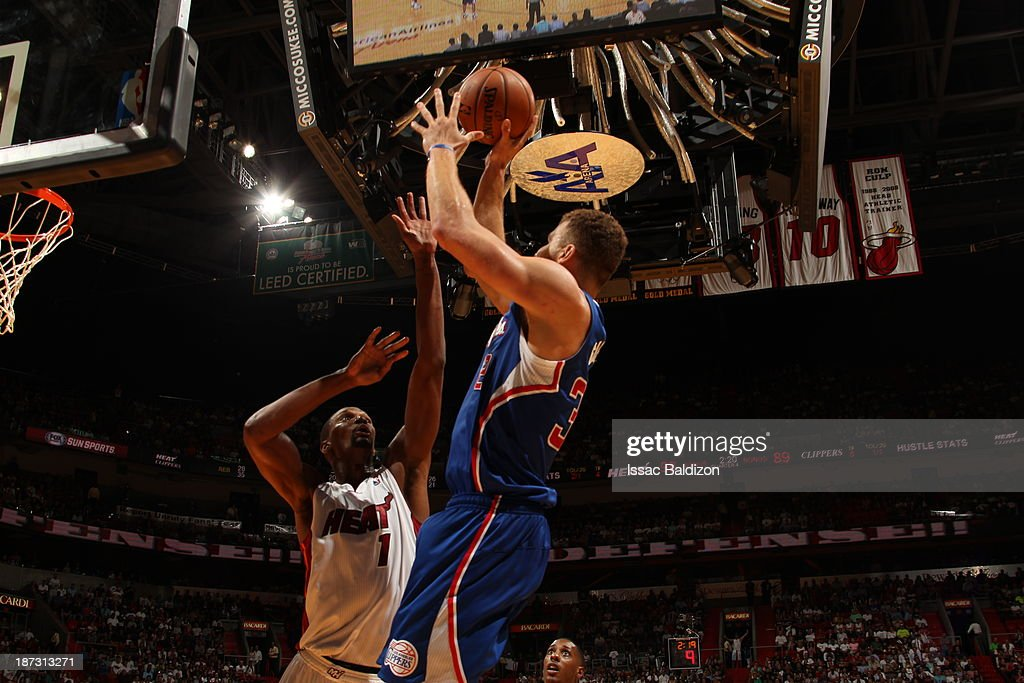 <a gi-track='captionPersonalityLinkClicked' href=/galleries/search?phrase=Blake+Griffin+-+Basketball+Player&family=editorial&specificpeople=4216010 ng-click='$event.stopPropagation()'>Blake Griffin</a> #32 of the Los Angeles Clippers shoots the ball against the Miami Heat on November 7, 2013 at American Airlines Arena in Miami, Florida.