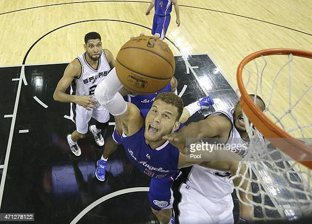 Blake Griffin of the Los Angeles Clippers shoots the ball against the San Antonio Spurs during Game Four of the Western Conference quarterfinals of...