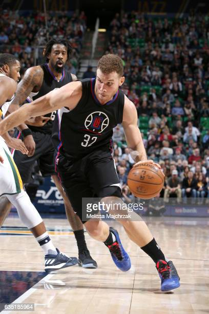 Blake Griffin of the Los Angeles Clippers shoots the ball against the Utah Jazz on February 13 2017 at vivintSmartHome Arena in Salt Lake City Utah...