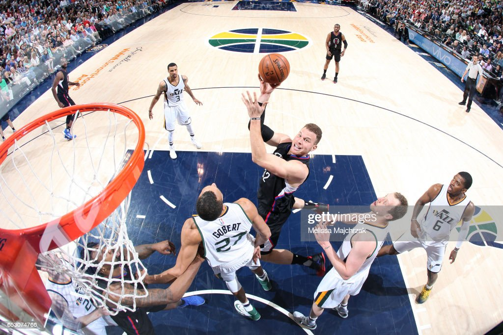 Blake Griffin #32 of the Los Angeles Clippers shoots the ball during the game against the Utah Jazz on March 13, 2017 at EnergySolutions Arena in Salt Lake City, Utah.
