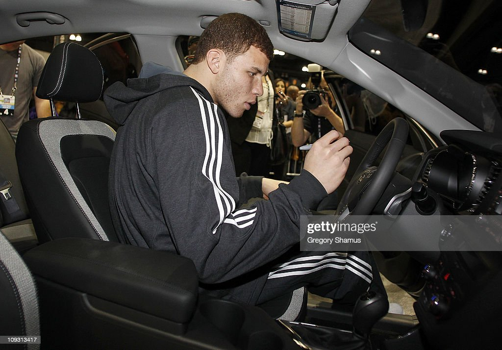 <a gi-track='captionPersonalityLinkClicked' href=/galleries/search?phrase=Blake+Griffin+-+Basketball+Player&family=editorial&specificpeople=4216010 ng-click='$event.stopPropagation()'>Blake Griffin</a> of the Los Angeles Clippers signs the steering wheel of the Kia Optima he jumped over during Sprite Slam Dunk Contest at Jam Session presented by Adidas during NBA All Star Weekend on February 20, 2011 in Los Angeles California.