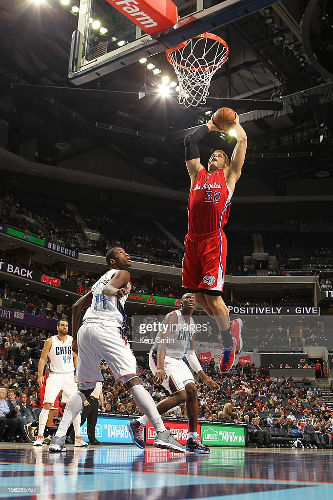 Blake Griffin #32 of the Los Angeles Clippers slams a monster dunk against the Charlotte Bobcats at the Time Warner Cable Arena on December 12, 2012 in Charlotte, North Carolina.