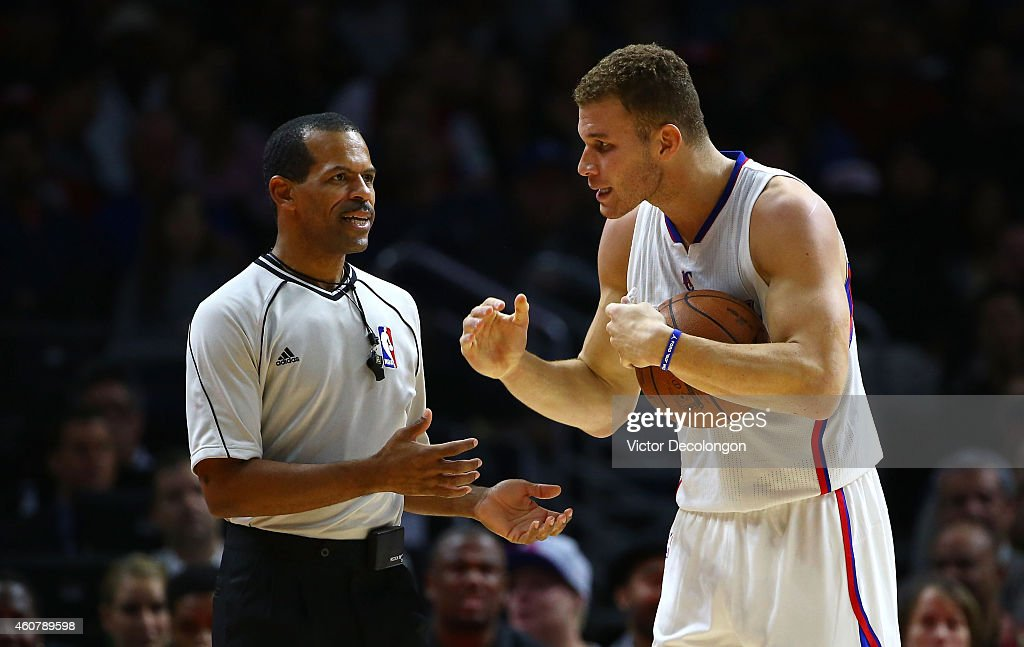 Blake Griffin of the Los Angeles Clippers speaks to NBA referee Eric Lewis during a break in NBA game action between the Milwaukee Bucks and the Los...