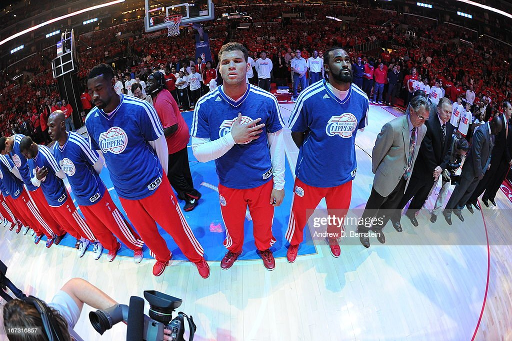 <a gi-track='captionPersonalityLinkClicked' href=/galleries/search?phrase=Blake+Griffin+-+Basketball+Player&family=editorial&specificpeople=4216010 ng-click='$event.stopPropagation()'>Blake Griffin</a> #32 of the Los Angeles Clippers stands for the national anthem before the game against the Memphis Grizzlies at Staples Center in Game Two of the Western Conference Quarterfinals during the 2013 NBA Playoffs on April 22, 2013 in Los Angeles, California.