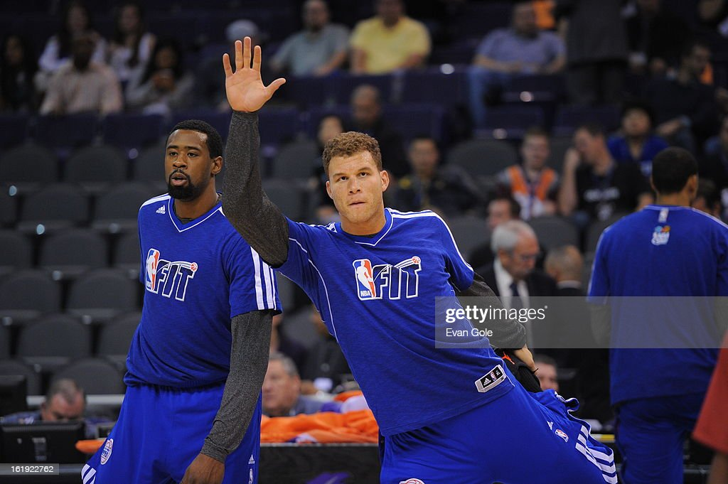 <a gi-track='captionPersonalityLinkClicked' href=/galleries/search?phrase=Blake+Griffin+-+Basketballer&family=editorial&specificpeople=4216010 ng-click='$event.stopPropagation()'>Blake Griffin</a> #32 of the Los Angeles Clippers stretches before the game against the Phoenix Suns at US Airways Center on January 24, 2013 in Phoenix, Arizona.