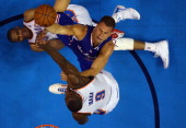 Blake Griffin of the Los Angeles Clippers takes a shot against Russell Westbrook and Serge Ibaka of the Oklahoma City Thunder in Game One of the...