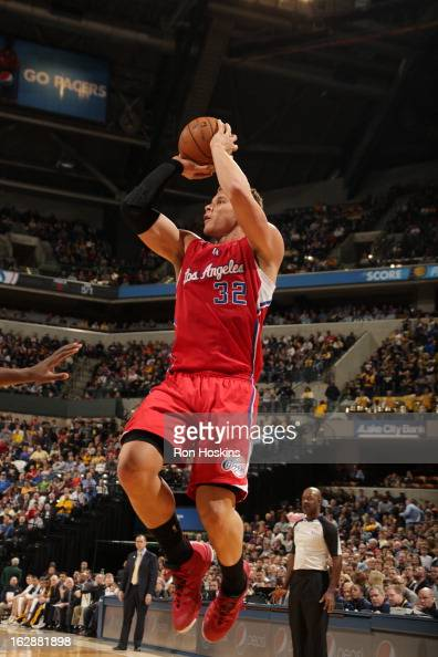 Blake Griffin of the Los Angeles Clippers takes an open shot against the Indiana Pacers on February 28 2013 at Bankers Life Fieldhouse in...