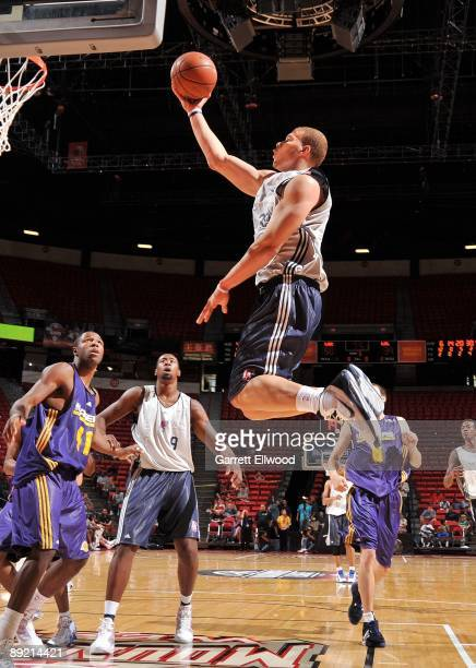 Blake Griffin of the Los Angeles Clippers takes the ball to the basket against the Los Angeles Lakers during NBA Summer League presented by EA Sports...