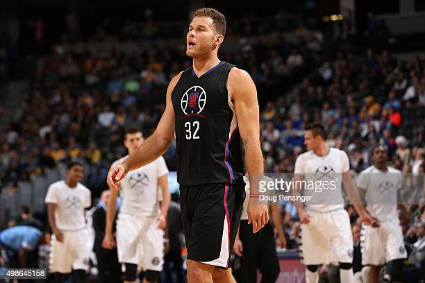 Blake Griffin of the Los Angeles Clippers takes the court against the Denver Nuggets at Pepsi Center on November 24 2015 in Denver Colorado The...