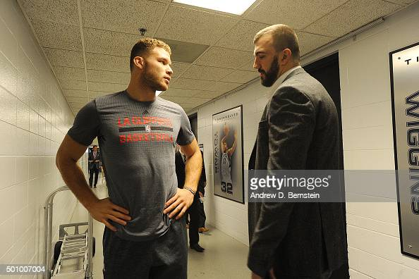 Blake Griffin of the Los Angeles Clippers talks with Nikola Pekovic of the Minnesota Timberwolves before the game on December 7 2015 at Target Center...