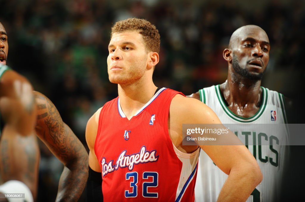 Blake Griffin #32 of the Los Angeles Clippers waits for the play against Kevin Garnett #5 of the Boston Celtics on February 3, 2013 at the TD Garden in Boston, Massachusetts.