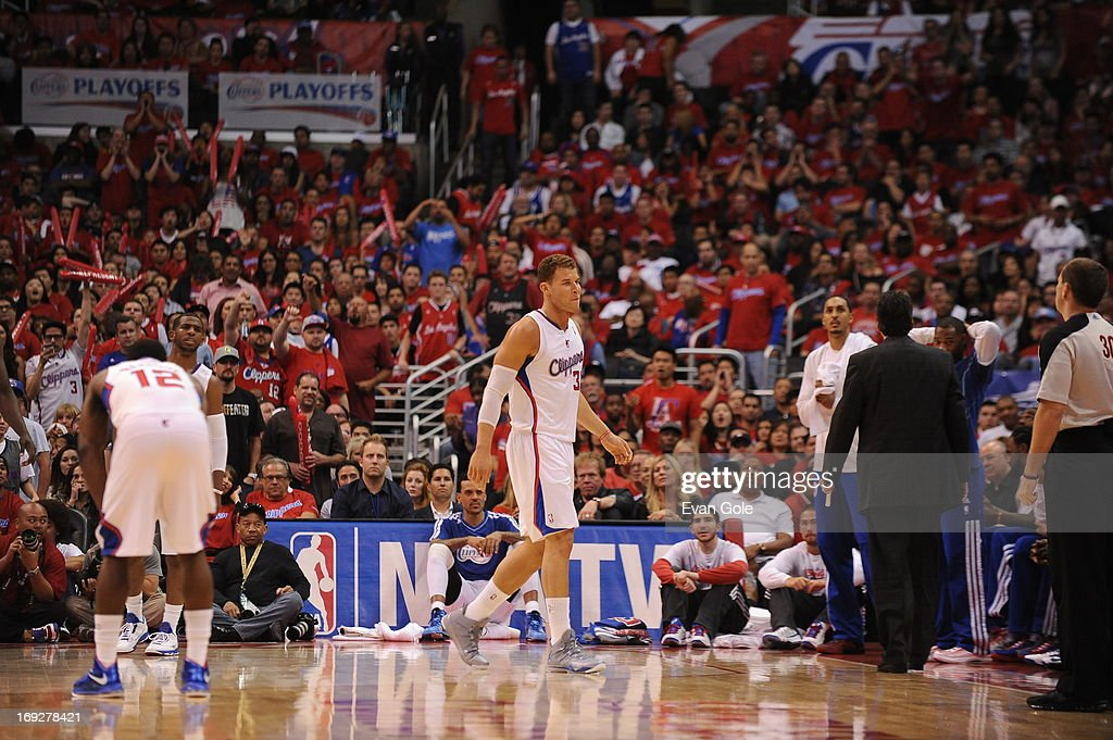 <a gi-track='captionPersonalityLinkClicked' href=/galleries/search?phrase=Blake+Griffin+-+Basketball+Player&family=editorial&specificpeople=4216010 ng-click='$event.stopPropagation()'>Blake Griffin</a> #32 of the Los Angeles Clippers walks off the court against the Memphis Grizzlies at Staples Center in Game One of the Western Conference Quarterfinals during the 2013 NBA Playoffs on April 20, 2013 in Los Angeles, California.