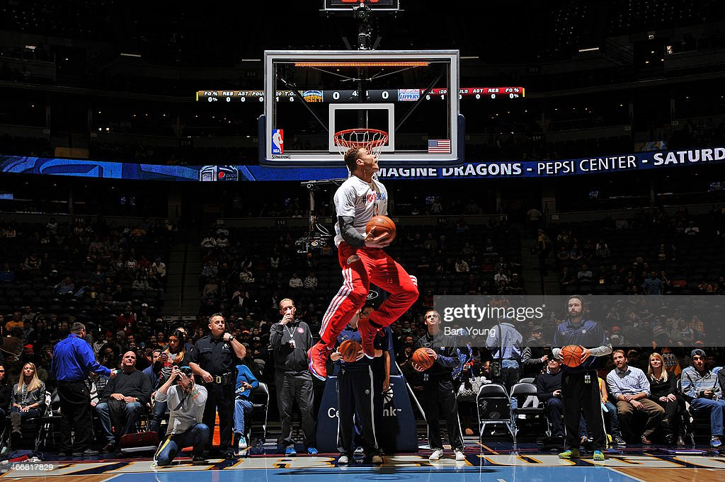 <a gi-track='captionPersonalityLinkClicked' href=/galleries/search?phrase=Blake+Griffin+-+Basketball+Player&family=editorial&specificpeople=4216010 ng-click='$event.stopPropagation()'>Blake Griffin</a> #32 of the Los Angeles Clippers warms up before the game against the Denver Nuggets on February 3, 2014 at the Pepsi Center in Denver, Colorado.