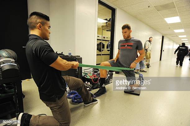 Blake Griffin of the Los Angeles Clippers warms up before the game against the Minnesota Timberwolves on December 7 2015 at Target Center in...
