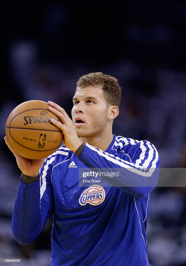 <a gi-track='captionPersonalityLinkClicked' href=/galleries/search?phrase=Blake+Griffin+-+Basketball+Player&family=editorial&specificpeople=4216010 ng-click='$event.stopPropagation()'>Blake Griffin</a> #32 of the Los Angeles Clippers warms up before their game against the Golden State Warriors at Oracle Arena on January 2, 2013 in Oakland, California.