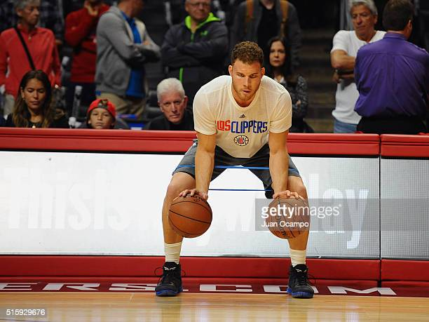 Blake Griffin of the Los Angeles Clippers works out before the game against the Cleveland Cavaliers at STAPLES Center on March 13 2016 in Los Angeles...
