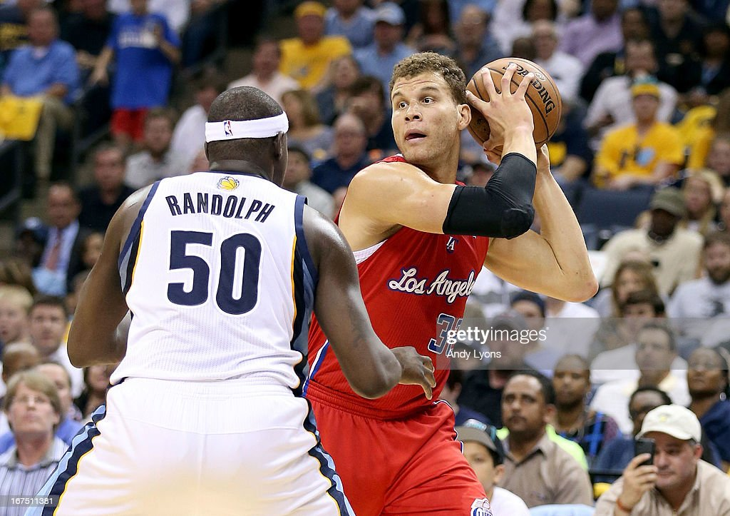 Blake Griffin #32 of the Los Angeles Clipperslooks to pass the ball against the Memphis Grizzlies during Game Three of the Western Conference Quarterfinals of the 2013 NBA Playoffs at FedExForum on April 25, 2013 in Memphis, Tennessee.