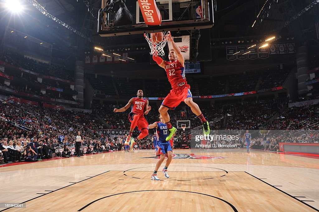 Blake Griffin #32 of the Western Conference All-Stars attempts a dunk during the 2013 NBA All-Star Game on February 17, 2013 at Toyota Center in Houston, Texas.