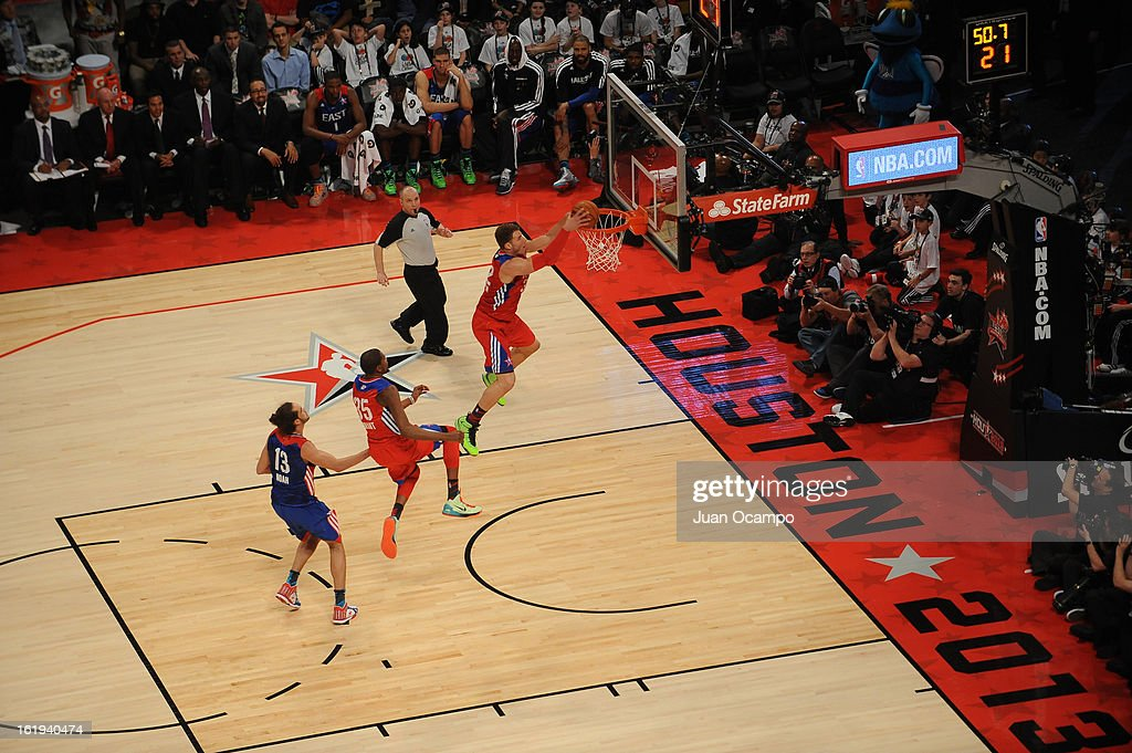 Blake Griffin #32 of the Western Conference All-Stars dunks against the Eastern Conference All-Stars during 2013 NBA All-Star Game on February 17, 2013 at Toyota Center in Houston, Texas.