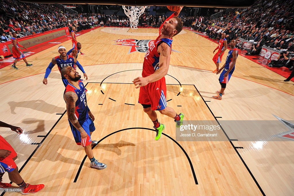Blake Griffin #32 of the Western Conference All-Stars dunks against Tyson Chandler #6 of the Eastern Conference All-Stars during 2013 NBA All-Star Game on February 17, 2013 at the Toyota Center in Houston, Texas.