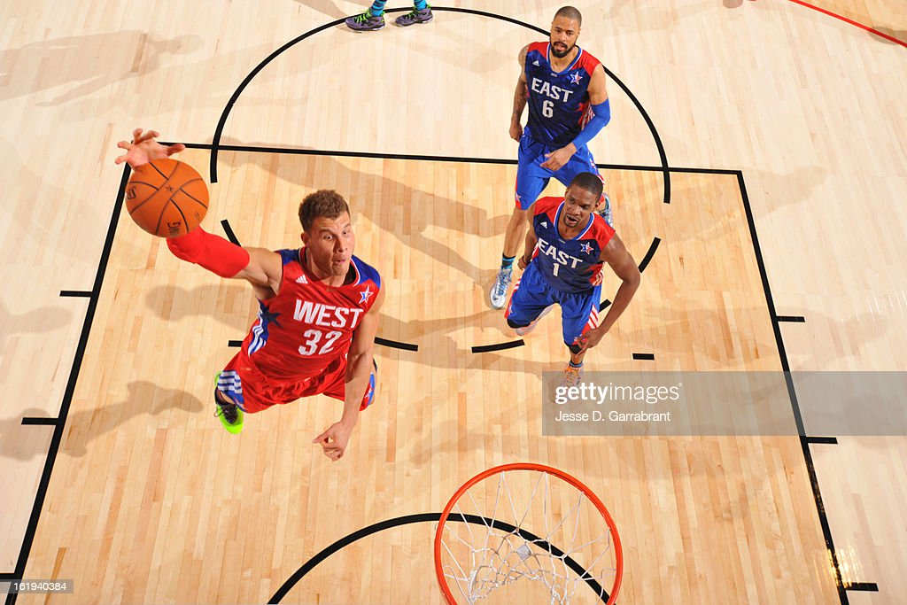 Blake Griffin #32 of the Western Conference All-Stars goes up for a dunk against the Eastern Conference All-Stars during 2013 NBA All-Star Game on February 17, 2013 at the Toyota Center in Houston, Texas.