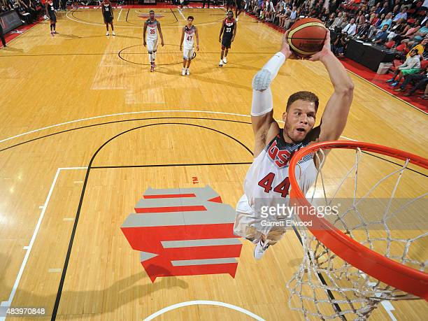 Blake Griffin of USA White dunks the ball against USA Blue during Team USA Basketball Showcase on August 13 2015 at the Thomas Mack Center in Las...