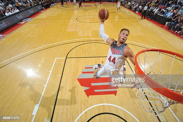 Blake Griffin of USA White goes up for a dunk against USA Blue during Team USA Basketball Showcase on August 13 2015 at the Thomas Mack Center in Las...