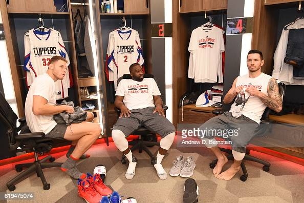 Blake Griffin Raymond Felton and JJ Redick of the LA Clippers sit in the locker room and get ready before the game against the Utah Jazz on October...