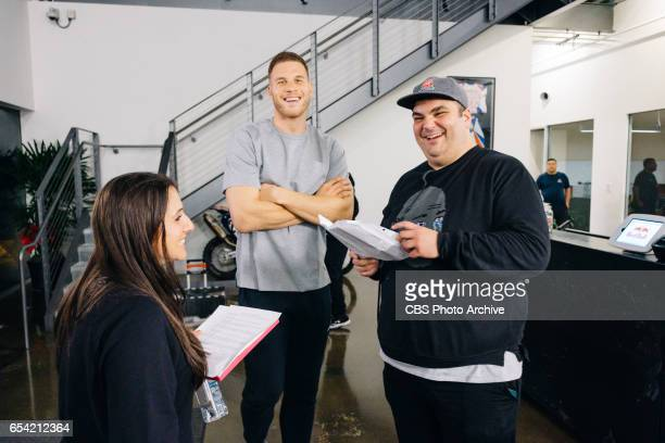 Blake Griffin reviews the script with writers Lauren Greenberg and Ian Karmel during 'The Late Late Show with James Corden' Monday March 13 2017 On...