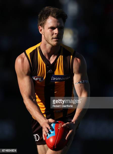 Blake Hardwick of the Hawks runs with the ball during the round six AFL match between the Hawthorn Hawks and the St Kilda Saints at University of...