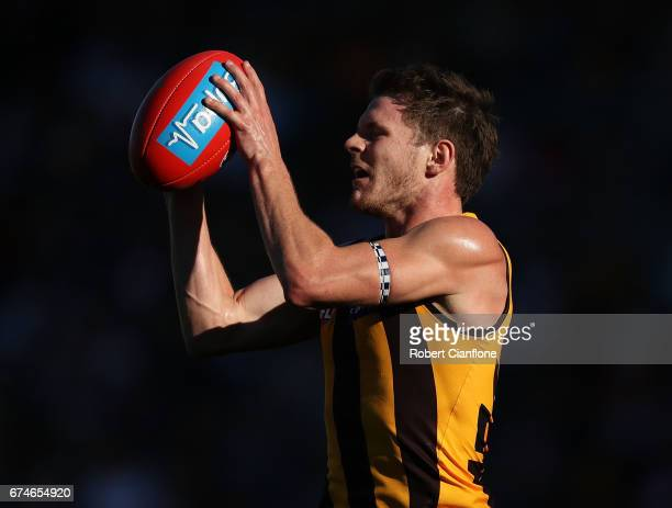Blake Hardwick of the Hawks takes the ball during the round six AFL match between the Hawthorn Hawks and the St Kilda Saints at University of...