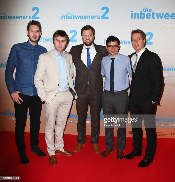 Blake Harrison James Buckley Iain Morris Simon Bird and Joe Thomas pose at the premiere of 'The Inbetweeners 2' at Event Cinemas George Street on...