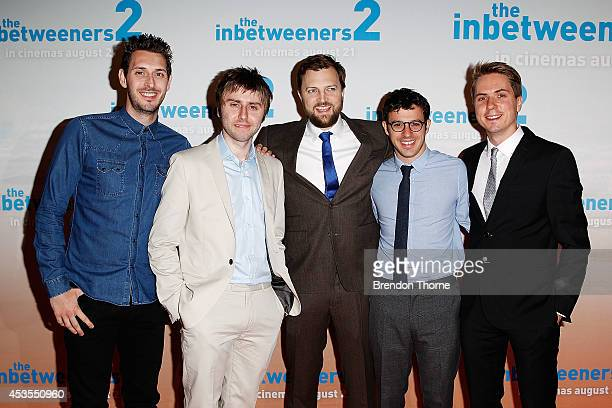 Blake Harrison James Buckley Iain Morris Simon Bird and Joe Thomas arrive at the premier of The Inbetweeners 2 at Event Cinemas George Street on...