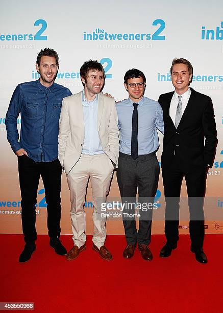 Blake Harrison James Buckley Simon Bird and Joe Thomas arrive at the premier of The Inbetweeners 2 at Event Cinemas George Street on August 13 2014...
