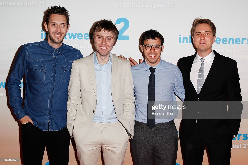 <a gi-track='captionPersonalityLinkClicked' href=/galleries/search?phrase=Blake+Harrison&family=editorial&specificpeople=5800049 ng-click='$event.stopPropagation()'>Blake Harrison</a>, James Buckley, <a gi-track='captionPersonalityLinkClicked' href=/galleries/search?phrase=Simon+Bird&family=editorial&specificpeople=4877799 ng-click='$event.stopPropagation()'>Simon Bird</a> and Joe Thomas arrive at the premier of The Inbetweeners 2 at Event Cinemas George Street on August 13, 2014 in Sydney, Australia. The Inbetweeners 2 will be released on 21 August 2014.