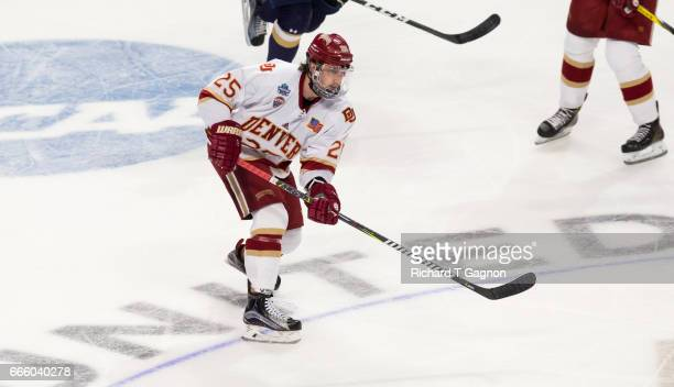 Blake Hillman of the Denver Pioneers skates against the Notre Dame Fighting Irish during game two of the 2017 NCAA Division I Men's Hockey Frozen...
