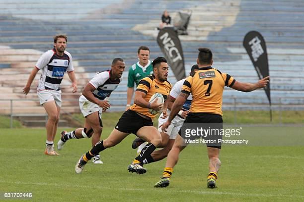Blake Hohaia of Taranaki against Auckalnd in the Cup Quarterfinal game during the Rotorua Bayleys National Sevens on January 15 2017 in Rotorua New...